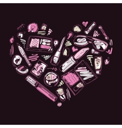 Heart of makeup products set vector