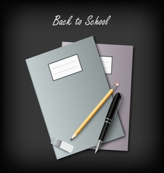 Back to School with workbooks and supplies vector image