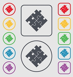 Puzzle piece icon sign symbols on the round and vector