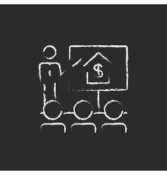 Real estate training icon drawn in chalk vector