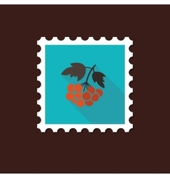 Rowan branch flat stamp with long shadow vector image