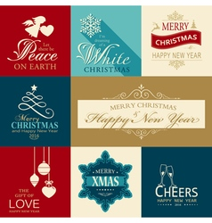 Set of flat christmas icons vector
