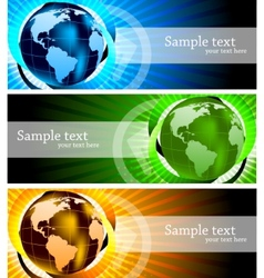 Banners with globe vector
