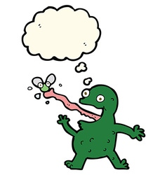 Cartoon frog catching fly with thought bubble vector