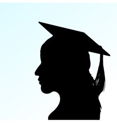 Young girl with mortar board vector