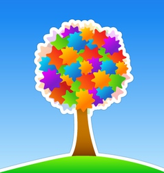 Colorful tree on green meadow vector