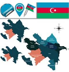 Azerbaijan map with named divisions vector