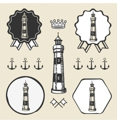 Vintage lighthouse symbol emblem label collection vector