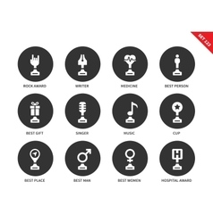 Media awards icons on white background vector