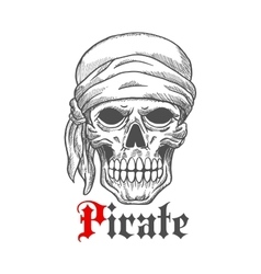 Pirate sailor skull in bandana sketch symbol vector