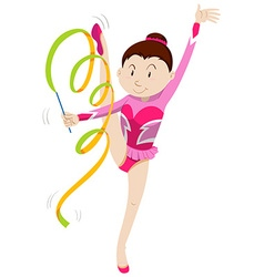 Girl in pink outfit doing gymnastics vector