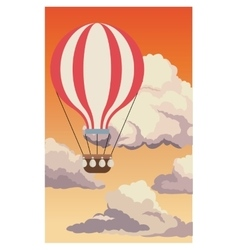 Airballoon flying sky sunset clouds vector