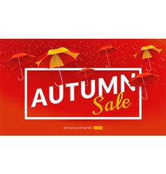 Autumn sale poster template with umbrellas vector image