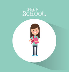 back to school cute student girl book ready study vector image