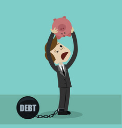 businessman or manager is shaking out empty piggy vector image vector image