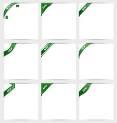 Collection of green corner ribbons new vector image vector image