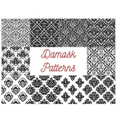 Damask seamless pattern set for wallpaper design vector