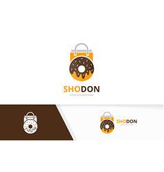 Donut and shop logo combination doughnut vector