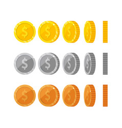 Flat cartoon gold and silver coins with dollar vector