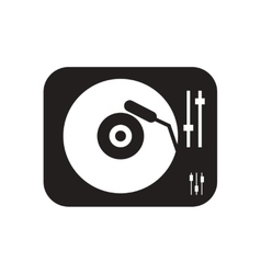 Flat icon in black and white phonograph vector