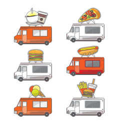 flat street food truck icons set vector image vector image