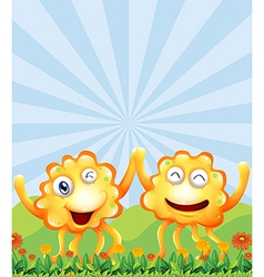 Happy monsters near the hills vector