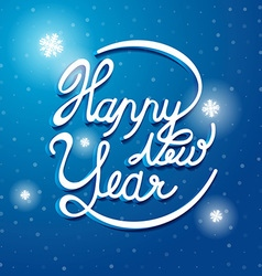 Happy new year font on blue and white snow vector