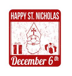 happy saint nicholas stamp vector image