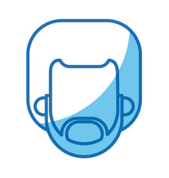 head man no face blue line silhouette vector image