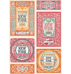 Hipster labels 01 vintage 2d vector