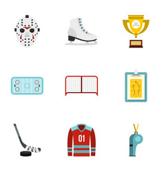 ice skating icons set flat style vector image