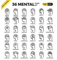 Mental mind pixel perfect outline icons vector