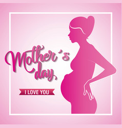 Pink silhouette pregnant woman mothers day love vector