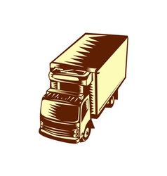 Refrigerated Truck Woodcut vector image vector image