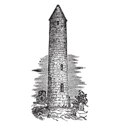 Round tower two irish-style vintage engraving vector