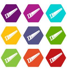 Saw icon set color hexahedron vector