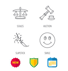 scales of justice auction hammer and slapstick vector image vector image