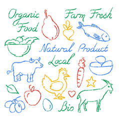 Set of hand drawn farm food icons and lettering vector