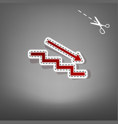 Stair down with arrow red icon with for vector