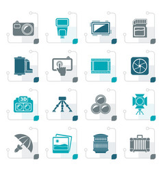 stylized photography equipment icons vector image vector image