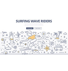 Surf Wave Riders Doodle Concept vector image