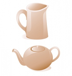 teapot and milk jug vector image vector image