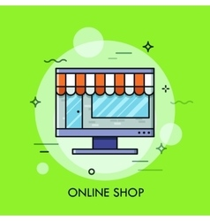 Thin line flat design of online store internet vector image vector image
