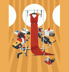 vertical color fashion with vector image
