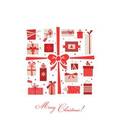 Vintage christmas gifts postcard vector