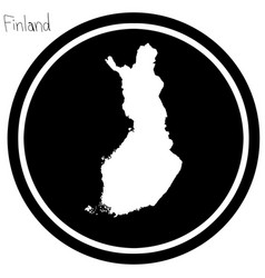 White map of finland on black circle vector