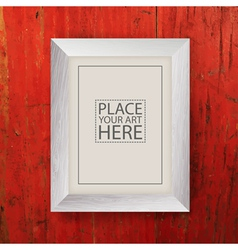 White wooden frame on red wooden wall vector