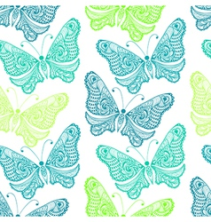 Zentangle stylized sea Butterfly seamless pattern vector image vector image
