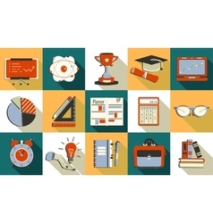 Self study and education themed icons set vector
