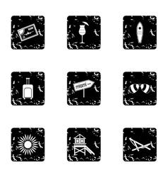 Miami icons set grunge style vector
